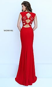 Sherri Hill Lace Embroidered Back Gown