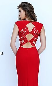 Image of floor length lace Sherri Hill embroidered open back gown  Style: SH-50286 Detail Image 1
