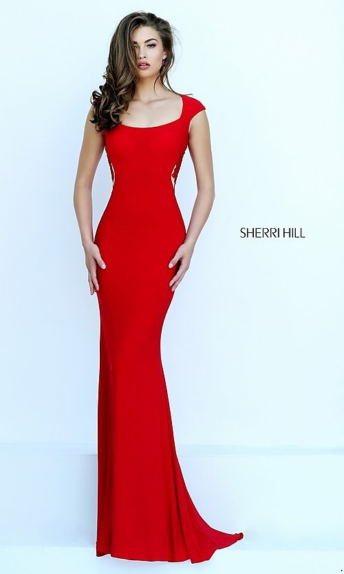 Image of floor length lace Sherri Hill embroidered open back gown  Style: SH-50286 Back Image