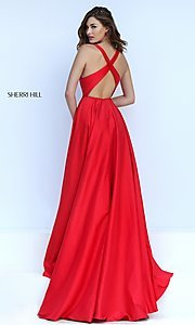 Image of long low v-neck sleeveless dress  Style: SH-50296 Back Image