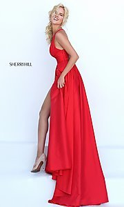 Image of long low v-neck sleeveless dress  Style: SH-50296 Detail Image 2
