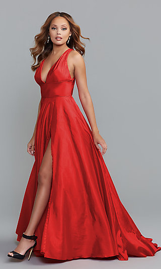 Low V-Neck Gown with Open Back