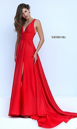 Low V-Neck Sherri Hill Gown with Open Back