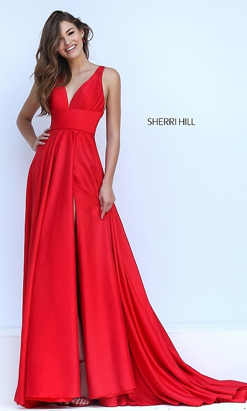 Image of long low v-neck sleeveless dress  Style: SH-50296 Detail Image 1