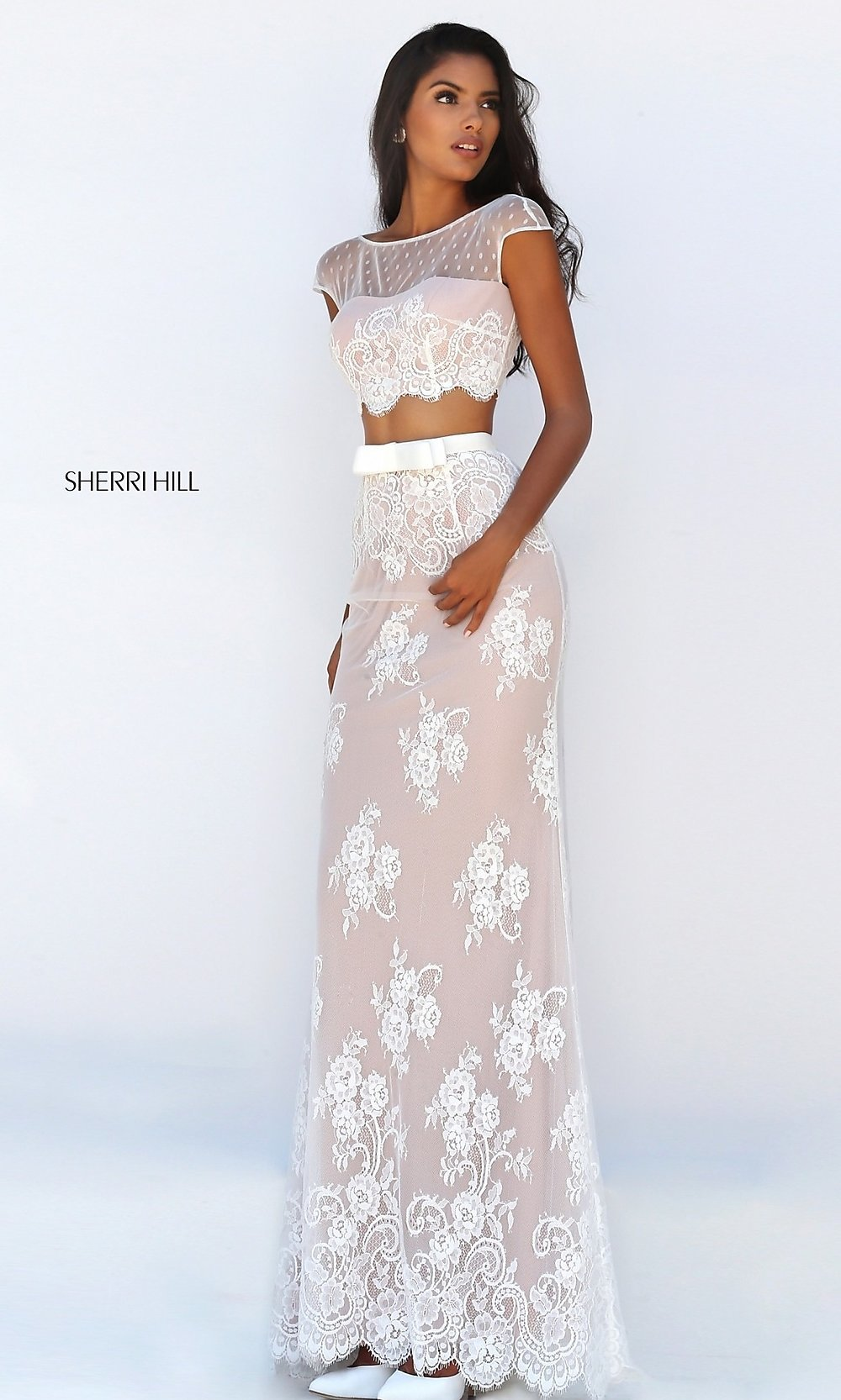 ivory prom dresses two piece