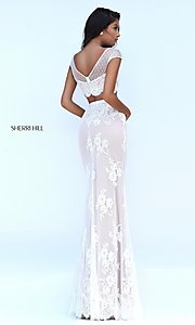 Image of floor length two piece lace dress Style: SH-50334 Back Image