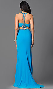 Image of floor length strapless beaded top dress Style: SH-50339 Back Image