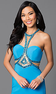 Image of floor length strapless beaded top dress Style: SH-50339 Detail Image 1
