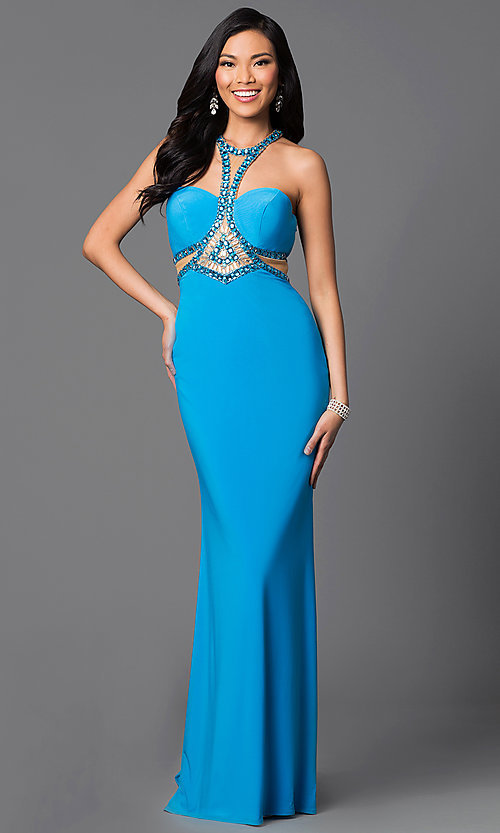 Image of floor length strapless beaded top dress Style: SH-50339 Front Image
