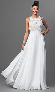 Image of long a-line bateau neckline beaded top dress  Style: SH-50397 Front Image