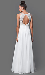 Image of long a-line bateau neckline beaded top dress  Style: SH-50397 Back Image
