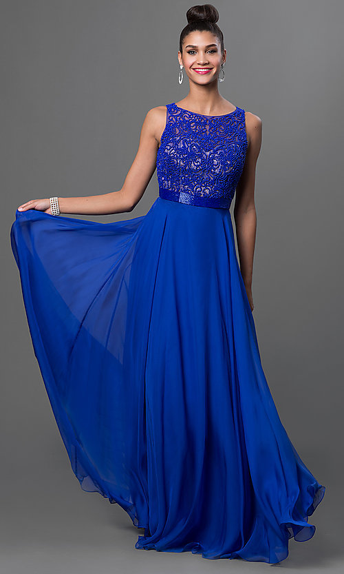 Image of long a-line bateau neckline beaded top dress  Style: SH-50397 Detail Image 1