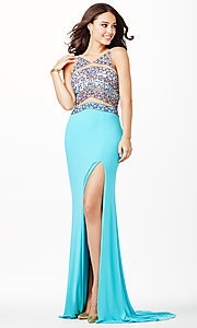 Image of long sleeveless sheer beaded bodice dress Style: JO-JVN-JVN33391 Front Image