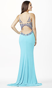 Image of long sleeveless sheer beaded bodice dress Style: JO-JVN-JVN33391 Back Image