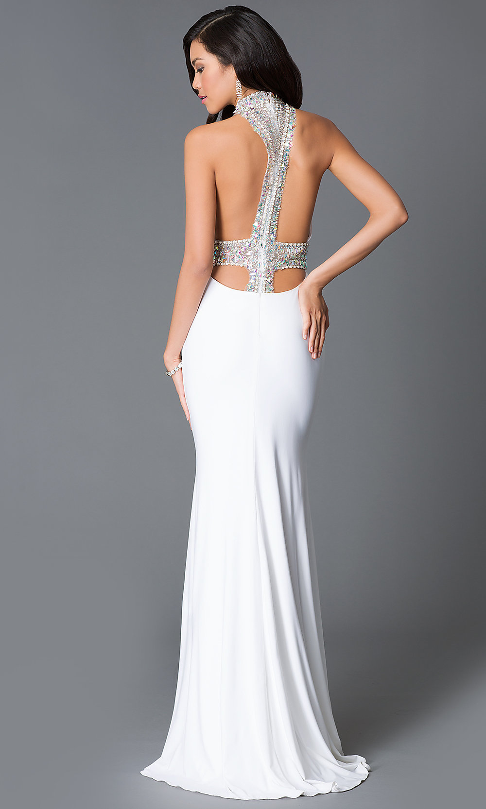 Long JVN by Jovani Open Back Prom Dress - PromGirl