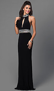 Long JVN by Jovani  High Neck Open Back Prom Dress