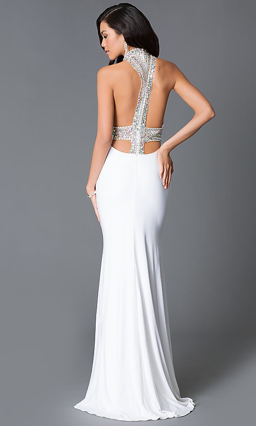 Image of Long Open Back High Neck Prom Dress Style: JO-JVN-JVN22328 Back Image