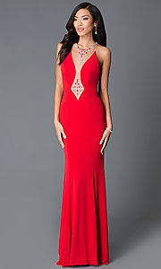 Long Beaded Illusion JVN by Jovani Evening Gown