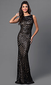 Image of long sequin-print open-back dress by JVN by Jovani. Style: JO-JVN-JVN36780 Detail Image 2