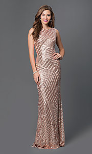 Image of Long Sequin Print Open Back Prom Dress Style: JO-JVN-JVN36780 Detail Image 1