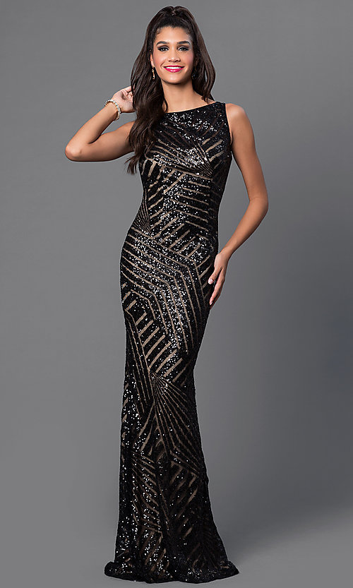 Image of Long Sequin Print Open Back Prom Dress Style: JO-JVN-JVN36780 Detail Image 2