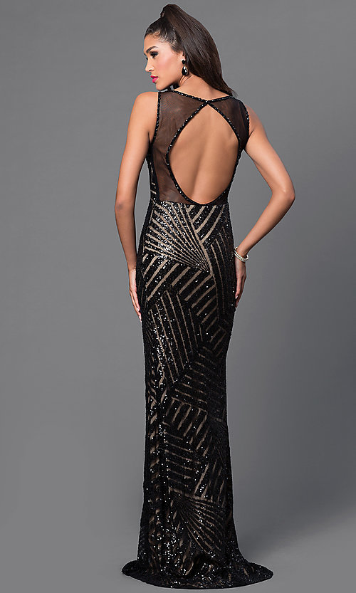 Image of Long Sequin Print Open Back Prom Dress Style: JO-JVN-JVN36780 Detail Image 3