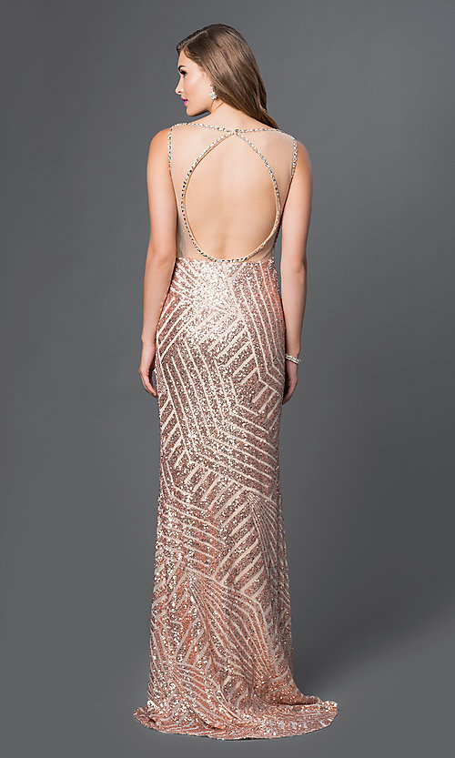 Image of Long Sequin Print Open Back Prom Dress Style: JO-JVN-JVN36780 Back Image