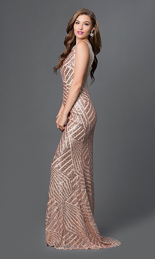 Image of Long Sequin Print Open Back Prom Dress Style: JO-JVN-JVN36780 Front Image