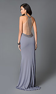 Long High Neck Beaded Draped Back Dress by JVN by Jovani