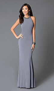 Image of long sleeveless high neck sheer beaded back dress Style: JO-JVN-JVN31934 Back Image