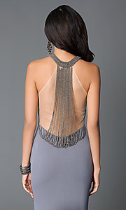 Image of long sleeveless high neck sheer beaded back dress Style: JO-JVN-JVN31934 Detail Image 1