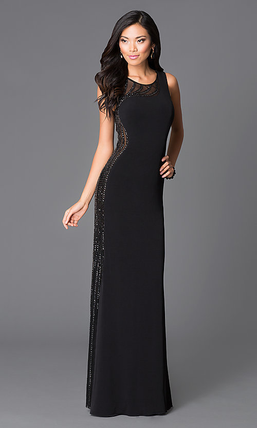 Image of long sleeveless illusion beaded back dress Style: JO-JVN-JVN33475 Front Image