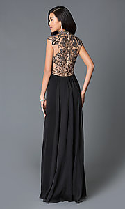 Image of high neck beaded illusion back sleeveless dress Style: JO-JVN-JVN27497 Front Image