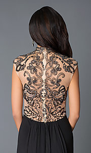 Image of high neck beaded illusion back sleeveless dress Style: JO-JVN-JVN27497 Detail Image 1
