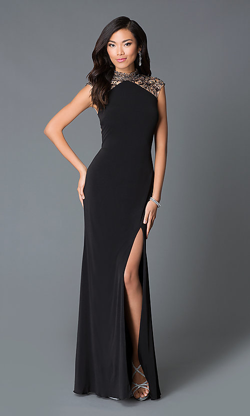 Image of high neck beaded illusion back sleeveless dress Style: JO-JVN-JVN27497 Back Image