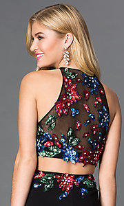 Image of long sleeveless two piece floor length sequin print dress Style: JO-JVN-JVN33363 Detail Image 2