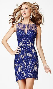 Image of short sleeveless lace open back dress Style: JO-JVN-JVN31417 Front Image