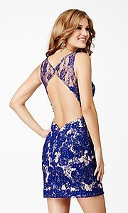 Image of short sleeveless lace open back dress Style: JO-JVN-JVN31417 Back Image