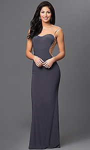 Sheer Illusion Sweetheart Cap Sleeve Long Prom Dress by Dave and Johnny