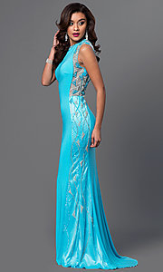 Long Aqua Blue Prom Dress by Dave and Johnny