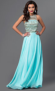 Dave and Johnny Floor Length Dress with Jeweled Bodice