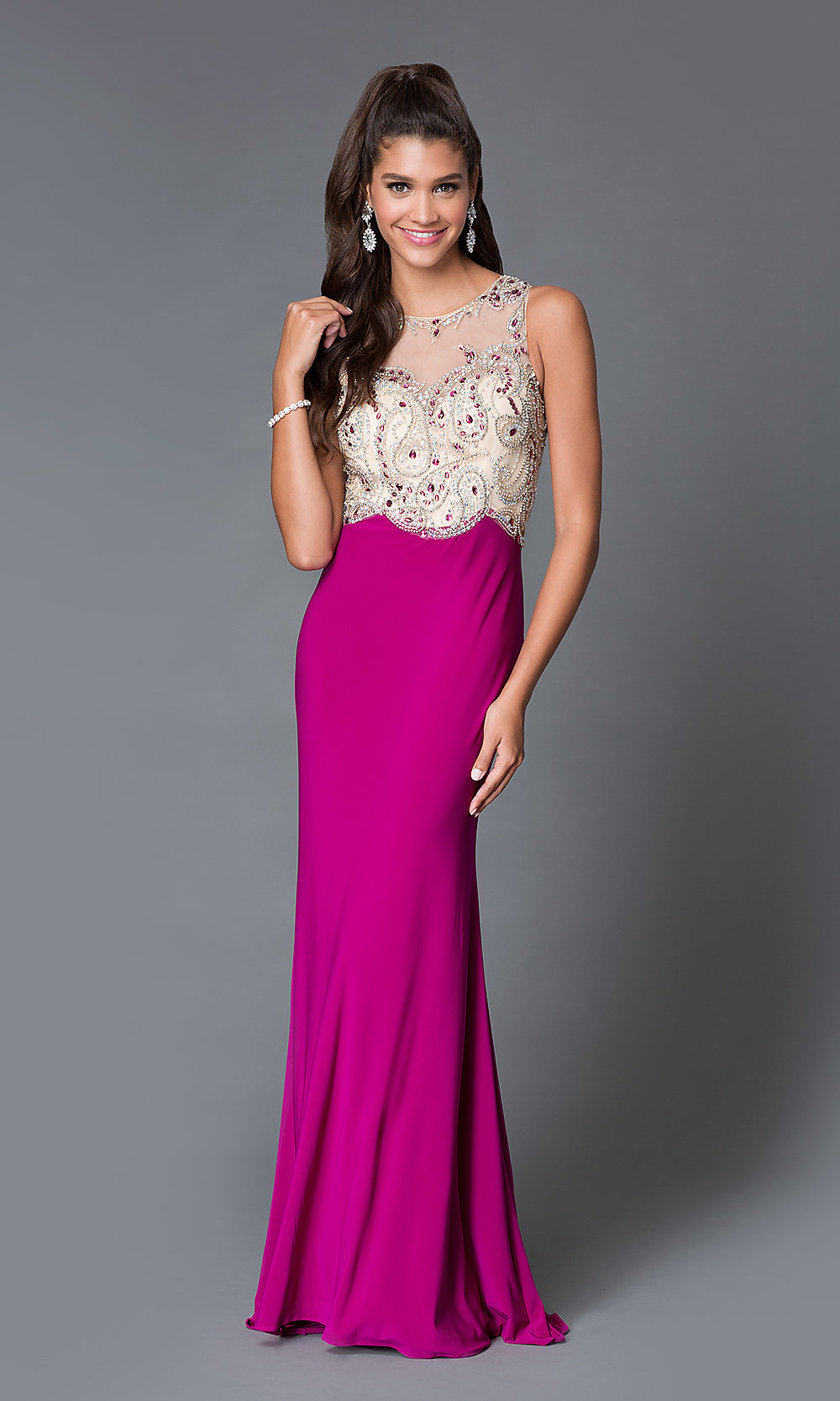 Abbie Vonn Long Pink Prom Dress - PromGirl