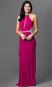 Magenta Long Prom Dress with Sheer Cut Outs by Dave and Johnny