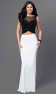 Image of long two-piece prom dress by Dave and Johnny. Style: DJ-2649 Front Image