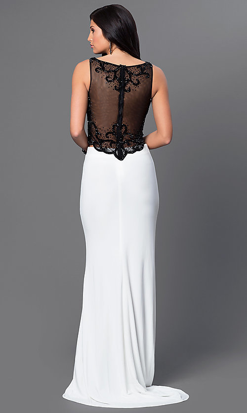 Image of long two-piece prom dress by Dave and Johnny. Style: DJ-2649 Back Image