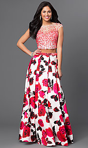 Image of long sheer embellished bodice open back floral print a-line skirt two piece dress  Style: DJ-2329M Front Image