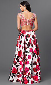 Image of long sheer embellished bodice open back floral print a-line skirt two piece dress  Style: DJ-2329M Back Image