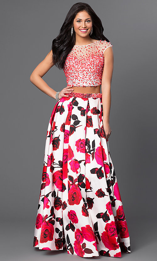 Two Piece Open Back Floral Print Gown- PromGirl