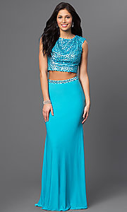 Image of long turquoise blue two-piece beaded prom dress. Style: DJ-2298 Front Image