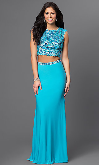 Long Turquoise Blue Two-Piece Beaded Prom Dress